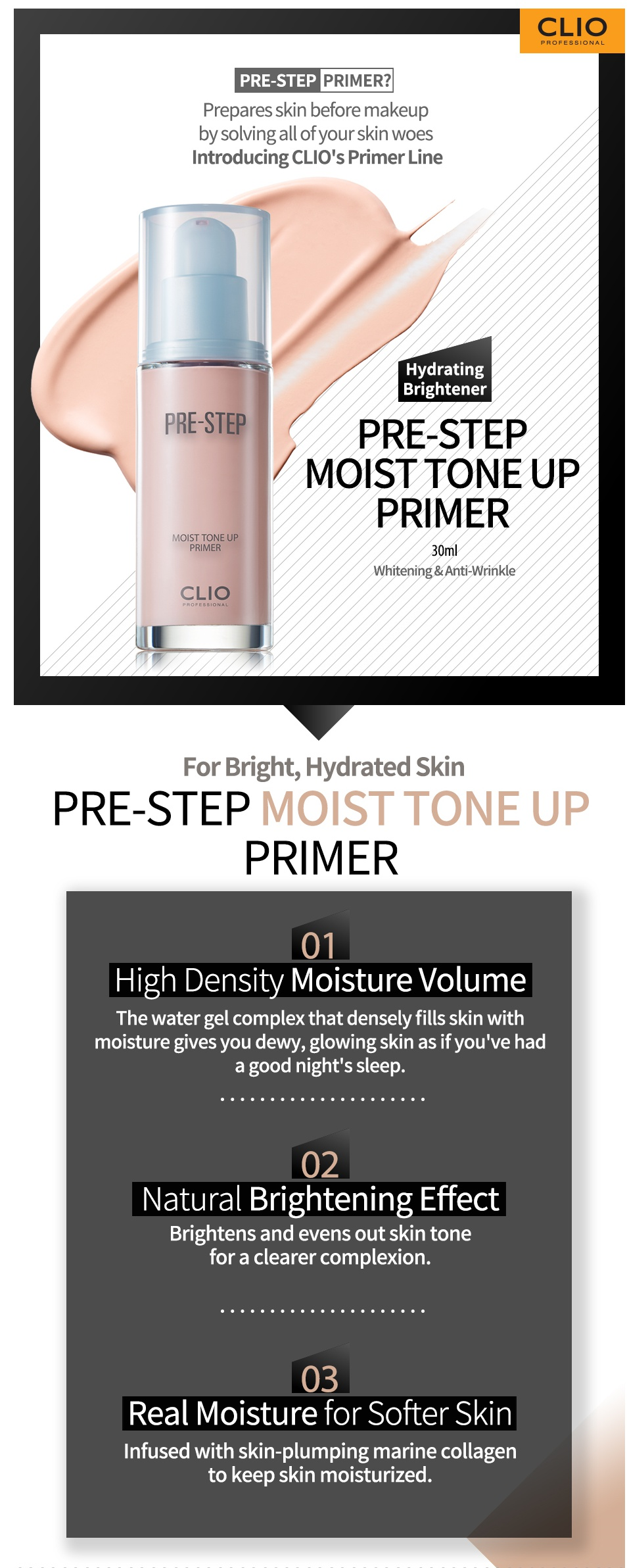[Clio] Pre-Step Moist Tone up Primer 30ml에 대한 이미지 검색결과