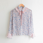 [W] MASHYELLOW oz ribbon flower frilly blouse_pink