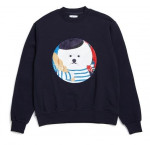 [W] BEYOND CLOSET France Dog Patch Sweat-Shirts 2017 Winter Navy