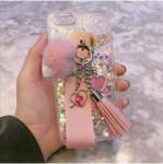 [W] Berry_Case Heart Glitter Tassel Case # iPhone SE_White Glitter_Silver_Pink_White