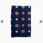 [W] LINEFRIENDS Navy Brown Pattern Blanket