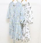 [R] Flower Kimono Dress #SKYBLUE