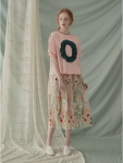 [W] WCONCEPT MARGARIN FINGERS Floral embroidery mesh skirt