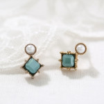 [W] At The Moment Antique Beads Square Earrings 1set