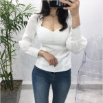 [W] Balloon Puff Pad Square Neck Blouse 1ea