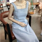 [W] Picnic Sleeveless Ribbon Square Neck Long Dress 1ea