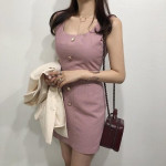 [W] Jewelry Button Linen Square Naxi One Piece 1ea (Color : PINK, Size : S)