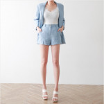 [W] MYSSONG Linen Tailored Jacket Simple Shorts 1set(Color : Sora, Size : S)