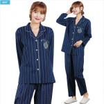 [W] 40 Cotton Navy Pen SIL Female Pajamas 1set