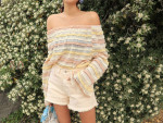 [W] STYLENANDA Pastel Rainbow Ankle Frill Off Shoulder Top 1ea
