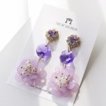 [W] MURMURER Purple Scent Earrings 1set