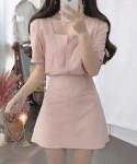 [W]  JBLIN Square Linen Two-Piece (Blouse + Skirt) 1set