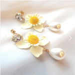 [W] ROMANGSHU Summer Flower Pearl Earrings 1set