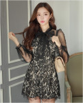 [W] CHLO.D MANON Sheer Sleeve Laced Dress 1ea