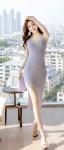 [W] ATTRANGS V neck Slit Knit Dress 1ea