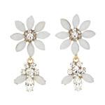 [W] STRAWBERRY SHERBET White Opal Flower Earring 1set