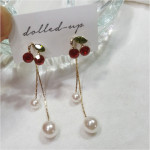 [W] Shiny Cherry Pearl Pearl Earring 1set