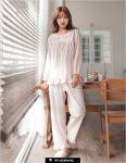 [W] EVENIE urui cotton long sleeve top and bottom PINK 1set