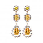 [W] JEWEL COUNTY Yellow Triple Drop Earrings 1set