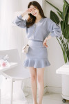 [W] ATTRANGS Puff sleeve pearl point cardigan, hem ruffle detail banding skirt two piece 1set