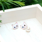 [W] kim yunyoung\'s request (Cat Character Earrings 2ea)