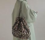 [W] STYLENANDA Leopard Pattern Weave Chain Strap Backpack 1ea