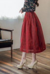 [W] HANBOKSTYLE Long-length traditional Waist skirt wine