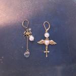[W] UNIPOPCORN Pearl Angel Drop Earrings