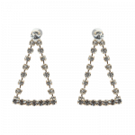 [W] STYLENANDA Triangular Rhinestone Accented Earrings