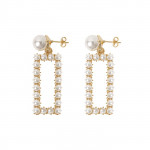 [W] STYLENANDA Faux Pearl Rectangular Earrings