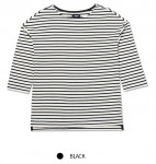 [W] SPAO Stripe T-Shirts Black