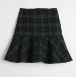 [W] CHLODMANON Girlish Ingle Tartan Ruffle Skirt Pants (Green)