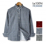 [R] Le'GEN HOMME Check Pattern Slim-Fit Shirts 1ea