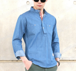 [R] Denim Shirts Henry Neck 1ea