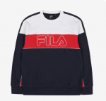 [R] FILA Loose-Fit White Line Sweat Shirts 1ea