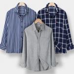 [R] DANGOON G Men's Shirt / Men's Long Sleeve Shirt / Stripe / Henley Neck / Navy / Autumn