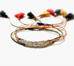 [R] JLAUREN B0710 BTS st Bracelet Cutting Silver Ball Silk Cord Sterling Silver Tassel Thread Bracelet #Navy 1ea