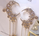 [R] Crescent Drop Cubic Drop Earrings 1set