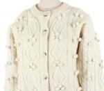 [R] Woolen woolen weave embroidered drops Pom Pom Flower Cardigan Knit 1ea