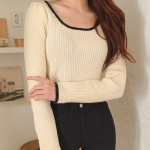 [R] Color Puff Crop Knit (4color) 1ea