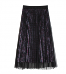 [R] ZERO STREET Check Velvet Sha Pleats Long Skirt 1ea