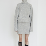 [R] THE CENTAUR Wool& Mohair Ribbed Knit Skirt [Grey] 1ea