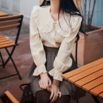 [R] MILK COCOA Mignon Lace Collar Cotton Blouse 1ea