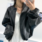 [R] ACUBI CLUB String Loose Leather Jacket Black 1ea