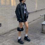 [R] BLACK UP Loose Fit Leather Jacket 1ea