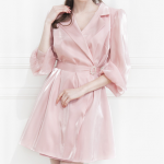 [R] Satin Collar Wrap One-Piece (Pink) 1ea