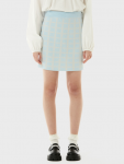 [R](SK-21146) SET-UP CHECK JACQUARD KNIT SKIRT LIGHT BLUE
