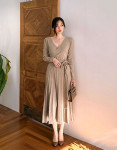 [R] [CHUU] Ballerina Wrap Knit Dress #BEIGE