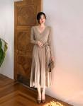 [R] [CHUU] Ballerina Wrap Knit Dress #BEIGE