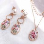 [R] MURMURER Spring Flower Pastel Necklace , Earring SET